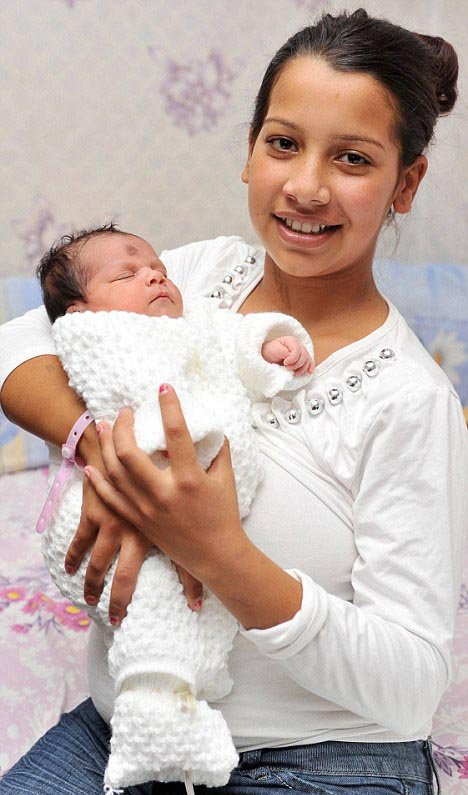 Birth to baby girl after goingshe does not look 11. she looks 15…